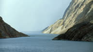 Pan Across Steep Coastal Landscape In Canadian Arctic