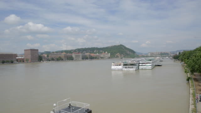 Pan across the River Danube from Pest to Buda