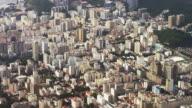 Pan aerial view of Rio de Janeiro and Corcovado Mountain.
