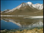 Pan left across lake reflecting chain of mountains and volcanoes in background Andes Bolivia