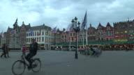 Pan Left Belfry Tower Bruges West Flanders Belgium
