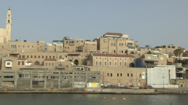Pan left old city Jaffa Tel Aviv Israel
