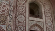 Pan left over detail of Tomb of Akbar the Great Available in HD.