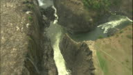 Pan left over fork in river at Victoria Falls, Aerial Shot