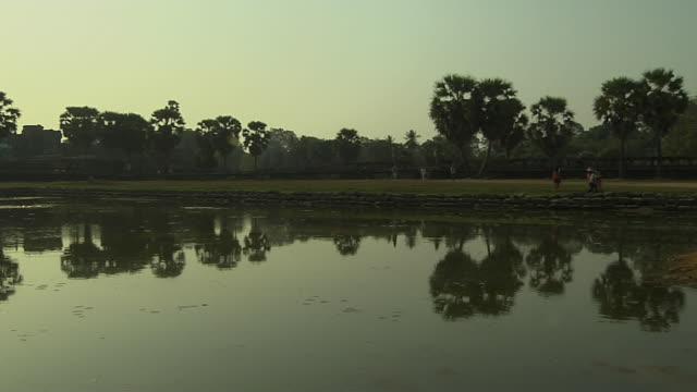 Pan Left Reveal Shot Angkor Wat Siem Reap Cambodia