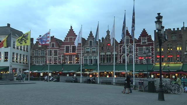 Pan Left Shot Flags Bruges West Flanders Belgium