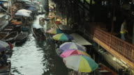 Pan Left Shot Floating Market Bangkok Thailand