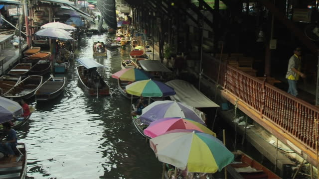 Pan Left Shot Floating Market Bangkok Thailand