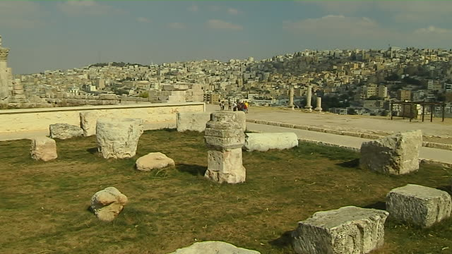 Pan Left Shot Temple of Hercules Amman Jordan