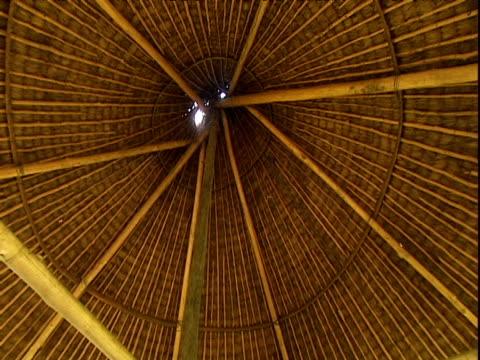 Pan left under wooden roof of shelter Venezuela