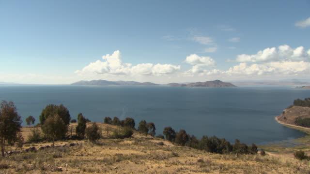 R-L Pan of Lake Titicaca [Lago Chucuito] from hill at Copacabana, Bolivia