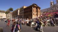 Pan of plaza in front of Trinità dei Monti in slow motion