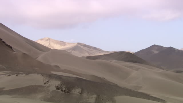 'L-R pan of sand dunes and sandy mountains in differing shades,  Lambayeque Valley, Peru'