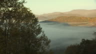 Pan over Blue Ridge Mountains in fall color.