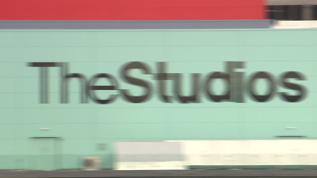 Pan right across exterior of studios at Media City, Salford Quays Available in HD.
