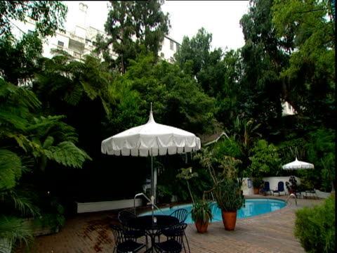 Pan right across pool and loungers Hotel Chateau Marmont Sunset Strip Los Angeles