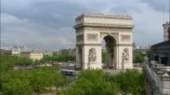 Pan right across treetops to Arc de Triomphe / Paris, France