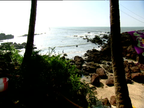 Pan right from beach to chairs shaded by palms Goa