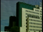 Pan right over MI6 building after missile attack 21 Sept 00