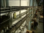 Pan right over soup cans on production line in factory