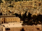Pan right over Temple Mount site to Dome of the Rock Jerusalem