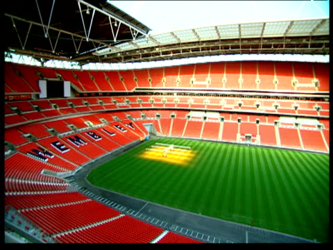 Pan right over Wembley Stadium London