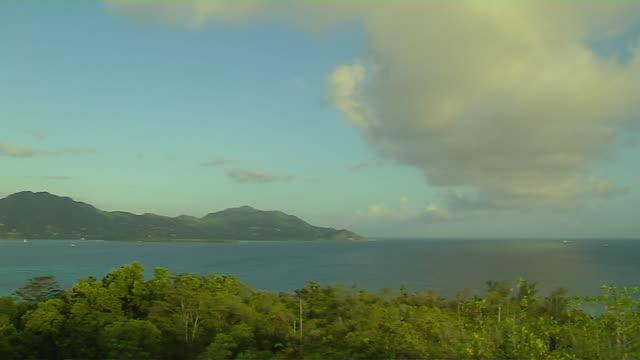 Pan Right Shot Aerial Sea Cerf Island Seychelles