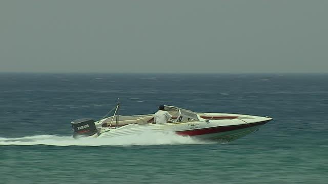 Pan Right Shot Boat Riding Aqaba Beach Jordan