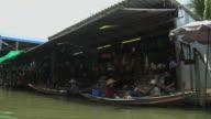 Pan Right Shot Floating Market Bangkok Thailand