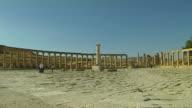 Pan Right Shot Oval Plaza Jerash Jordan