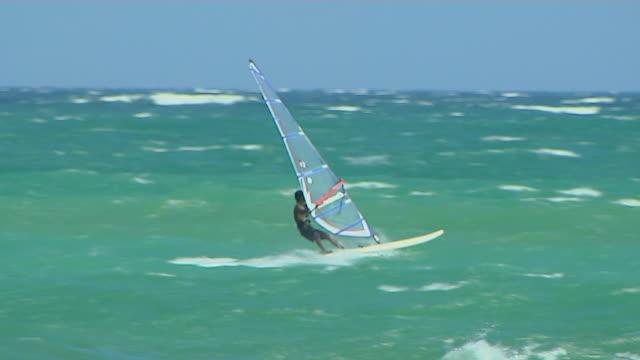 Pan Right Shot Surfing Unawatuna Beach Galle Southern Province Sri Lanka