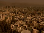 Pan right to WA view of Damascus from Umayyad mosque, Damascus, Syria (sound available)