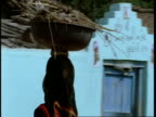 CU pan right, Woman with face covered carrying bowl on head, Gujarat, India