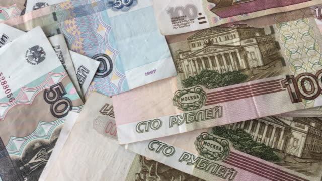 Pan shot bank notes roubles, Russian big money