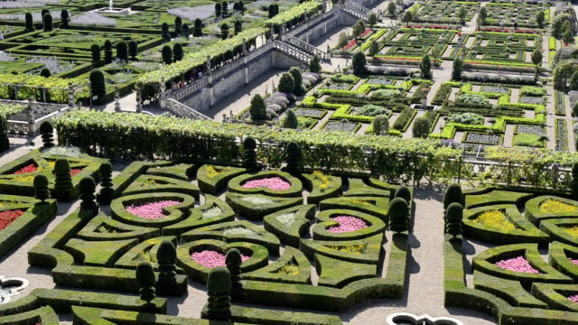 Pan Shot of Formal gardens of Chateau de Villandry