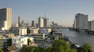 Pan Shot of view over Chao Phraya River and skyline of Bangkok