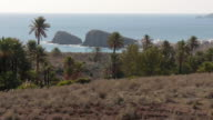 pan shot, palm trees on hills with white houses and volcanic rocks in sea