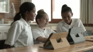 WS PAN_Schoolkids looking together at digital tablet