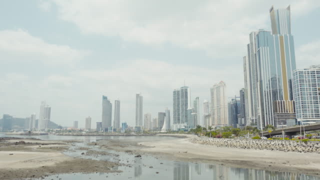Panama city establishing shot. We can see palm trees and tall skyscrapers.