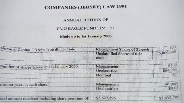 Calls for David Cameron to resign London INT Close shot of document 'Annual Return of PMG Eagle Fund Limited' Close shot of coat of arms of the...