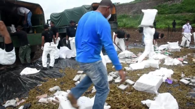 Panamas anti narcotics police burn over 6 tons of cocaine and marijuana in Cerro Patacon a dump near Panama City