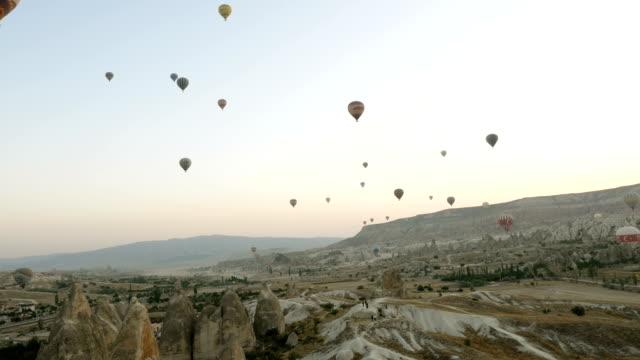 Panaromic View Heißluftballon fliegen über Göreme in Cappadocia