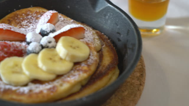 pancake with fresh strawberry bananas