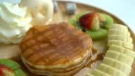 pancake with vanilla ice-cream and fruit