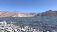 Pangong Lake with mountain and blue sky, Ladakh, North India