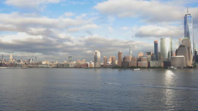 Panning 4K Video of New York City Lower Manhattan at Sunset