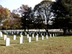 Panning across grave markers in Arlington Cemetery