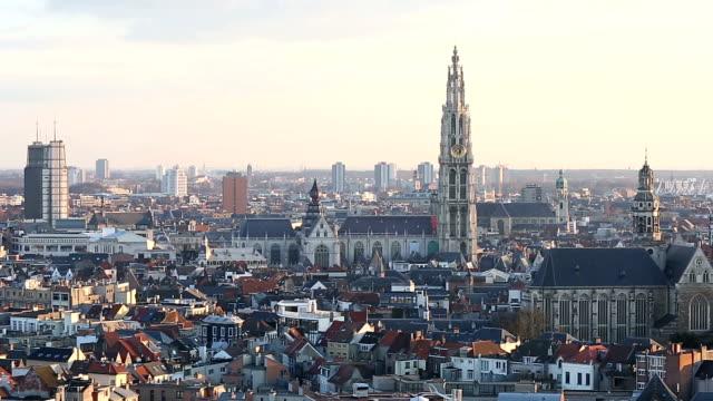 HD Panning: Aerial Antwerp ancient town Belgium at dusk