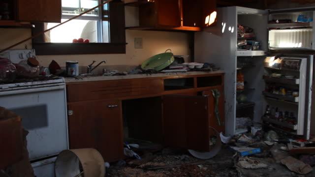 Panning Around Kitchen Of Destroyed House