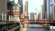 HD Panning: Chicago River with Skyline Cityscape USA